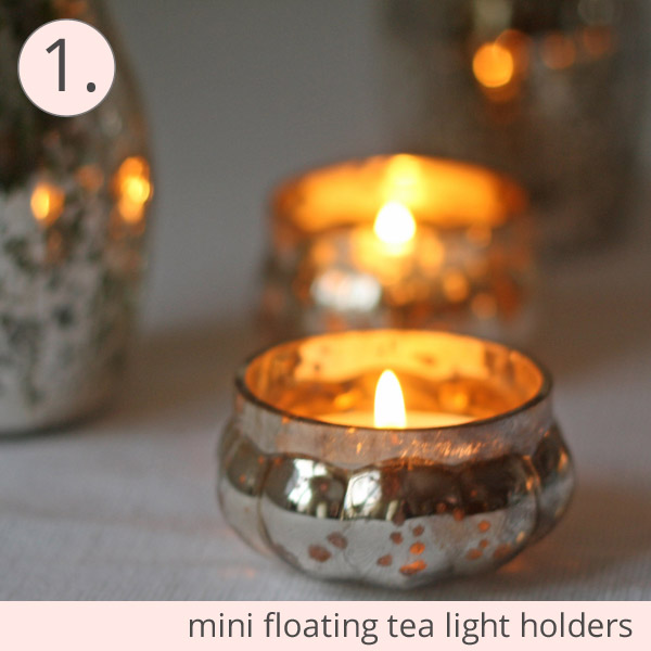 mini mercury silver tea light holders wedding
