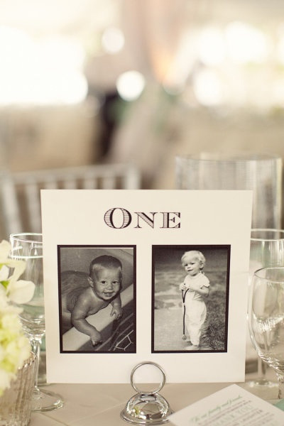 wedding table numbers with photos of the bride and groom at the age. Personalised Wedding Table Number Ideas