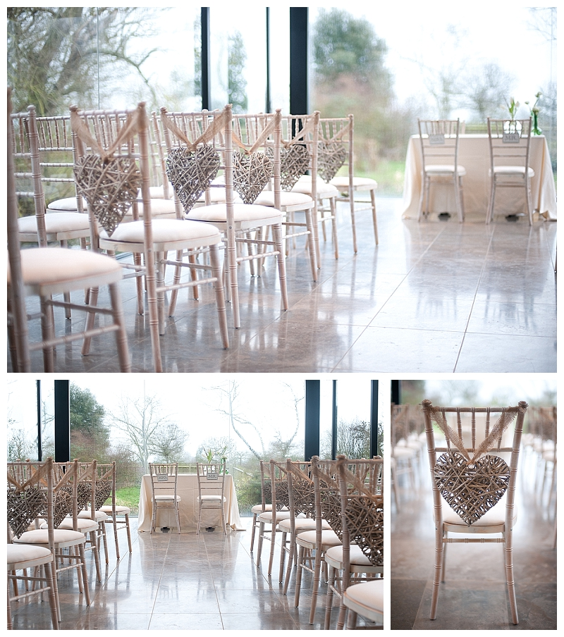 wicker hearts wedding pew ends chair backs