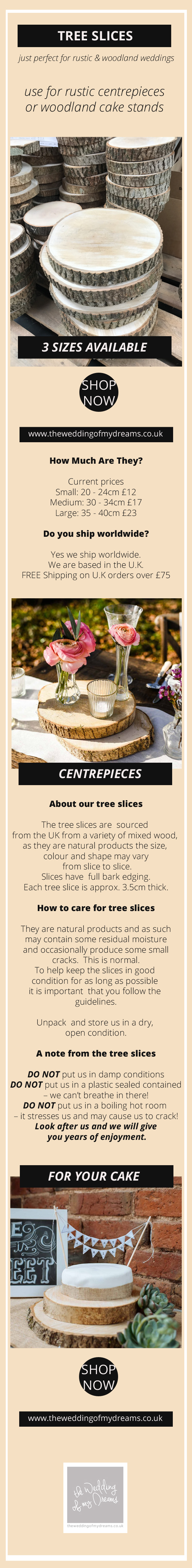 Rustic wooden tree slices for weddings