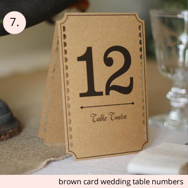 best wedding table numbers brown cards 1 to 12