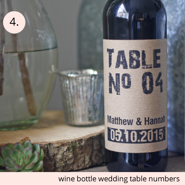 best wedding table numbers personalised sine bottle stickers