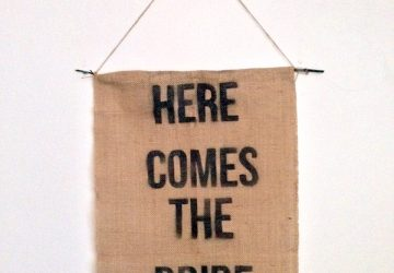 here comes the bride hessian wedding sign