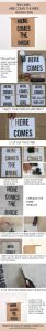 how to make hessian signs here comes the bride spray paint
