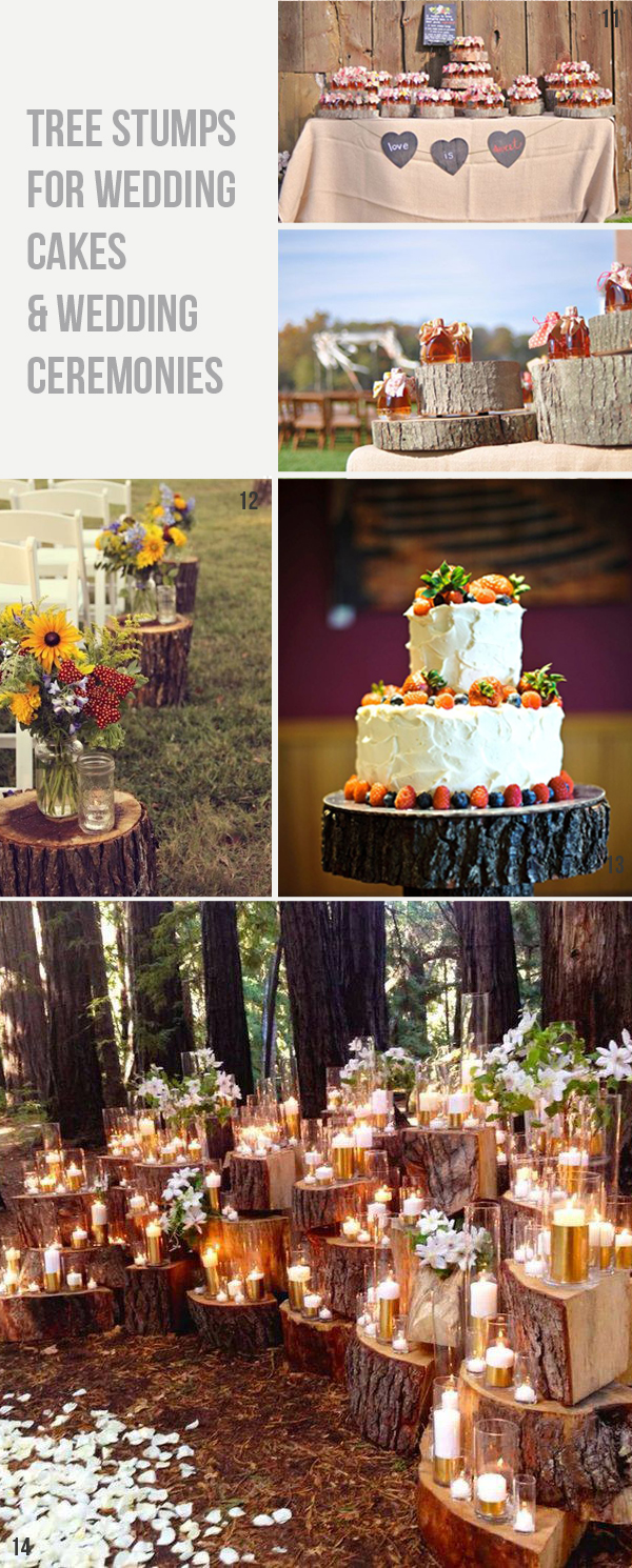rustic woodland tree slice wedding cake stree stump wedding ceremony decoration ideas