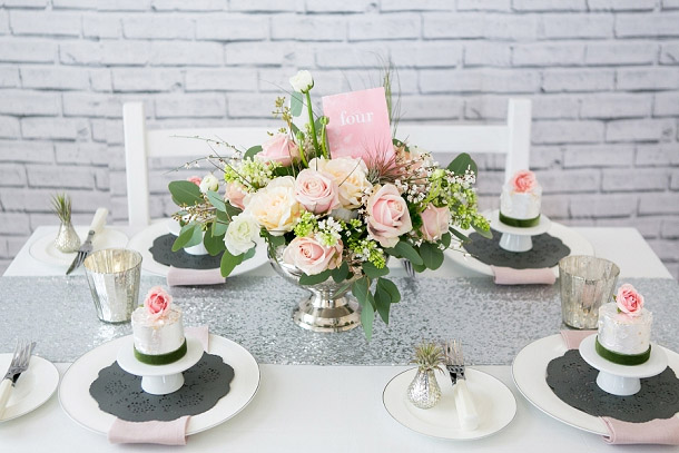 silver and blush pink wedding table decorations