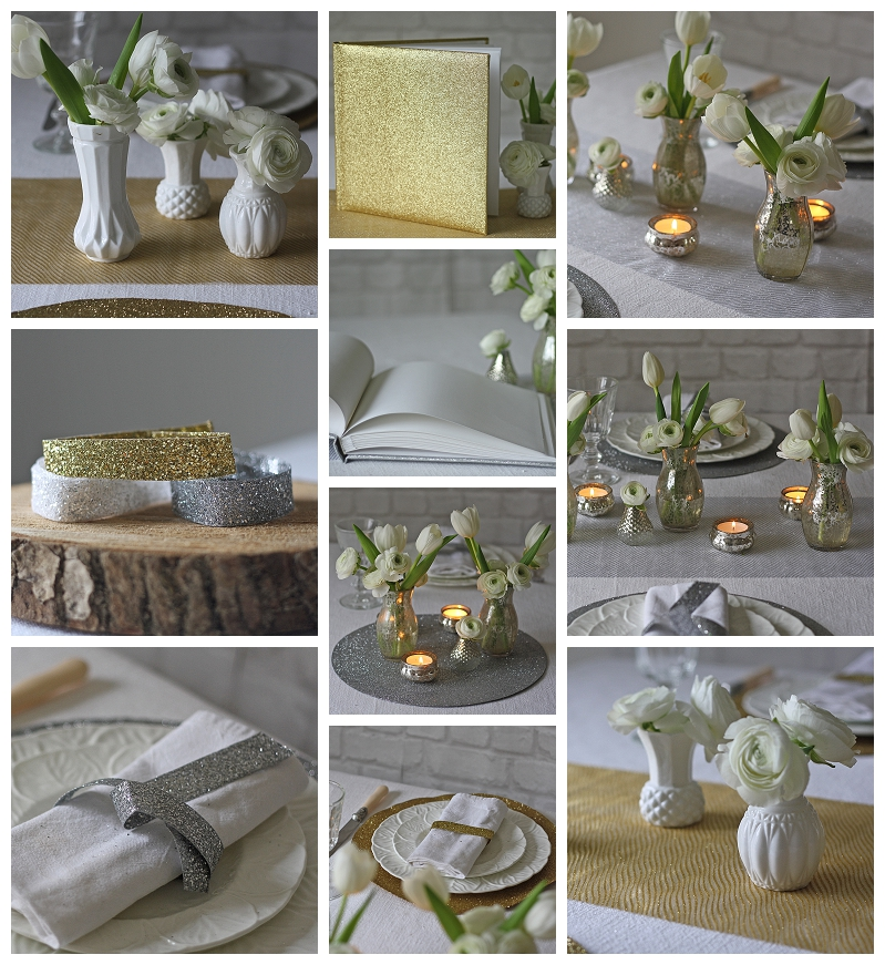 silver glitter gold glitter wedding decorations