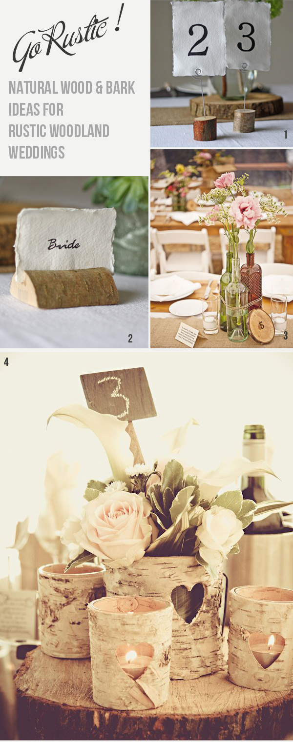 tree slice stree stump wedding decoration ideas table number holders rustic woodland