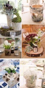 tree slice stree wedding centrepiece decoration ideas rustic woodland
