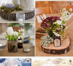 tree slice stree wedding centrepiece decoration ideas rustic woodland