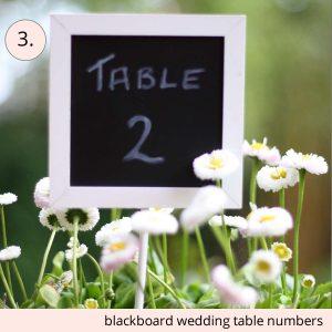 wedding table numbers blackboard on stick