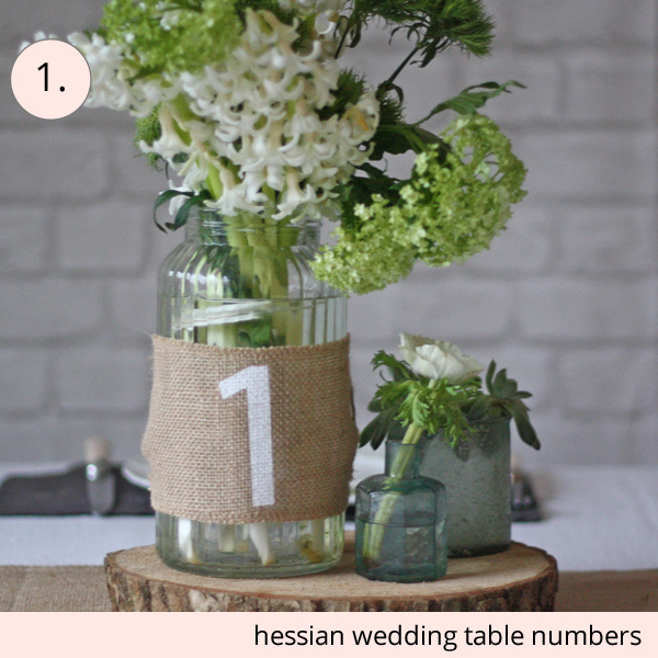 wedding table numbers hessian