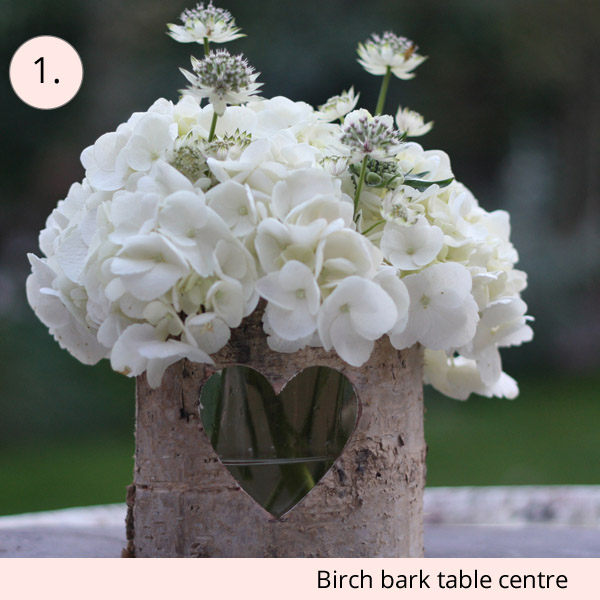 birch bark wedding centrepeiece container £10 centrepieces for under £15 (budget friendly centrepieces)