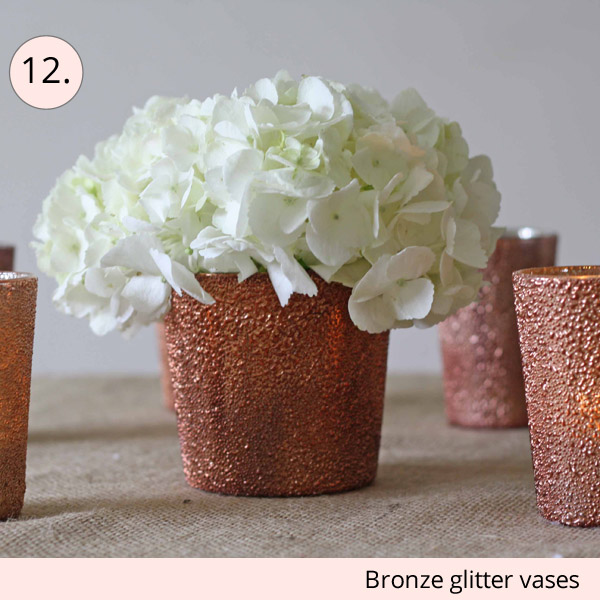 bronze glitter vases for wedding centrepieces - 15 wedding centrepieces for under 15 pounds (budget friendly centrepieces)