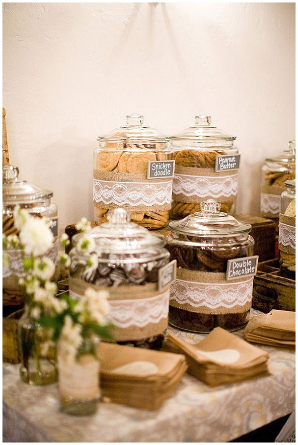 candy buffet cover sweet jars in burlpa and lace hessian wedding ideas
