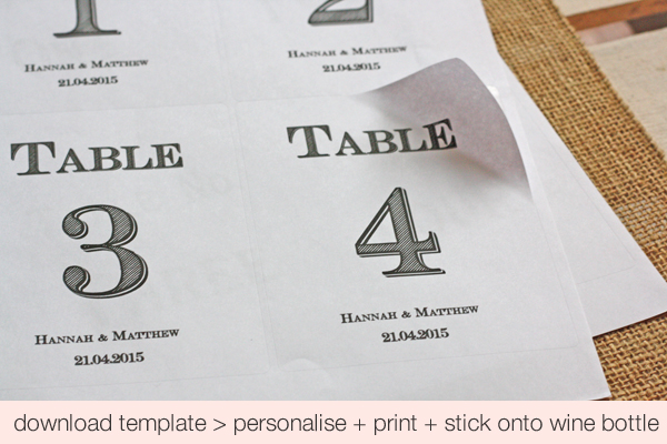 free printable wedding table numbers stickers for wine bottles