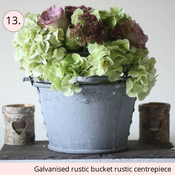 galvanised bucket rustic wedding centrepiece ideas - 15 wedding centrepieces for under 15 pounds (budget friendly centrepieces)