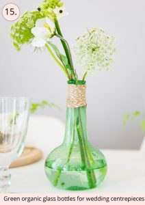 green organic glass bottles for wedding centrepieces - 15 wedding centrepieces for under 15 pounds (budget friendly centrepieces)