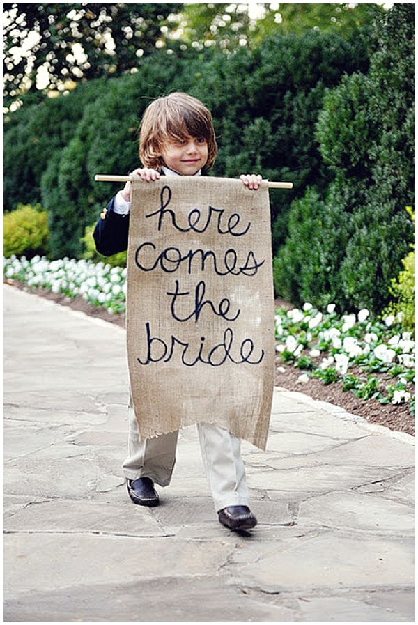 hessian here comes the bride signs wedding ideas
