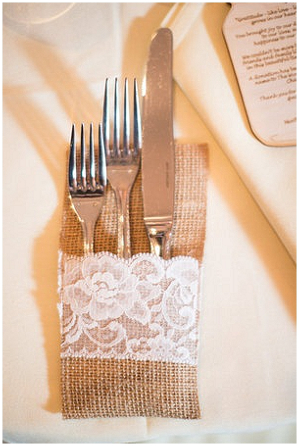 hessian pouches for cuttlery burlap wedding ideas