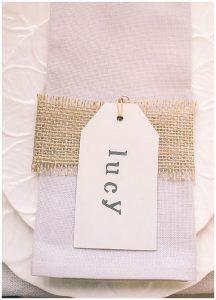 hessian ribbon over napkins wedding ideas