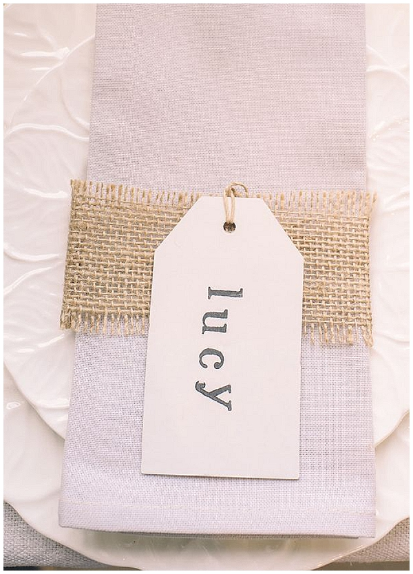 hessian ribbon over napkins wedding ideas