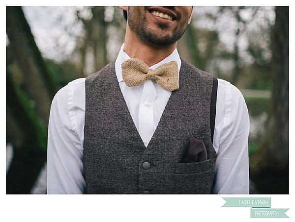 hessian wedding ideas hessian bow tie