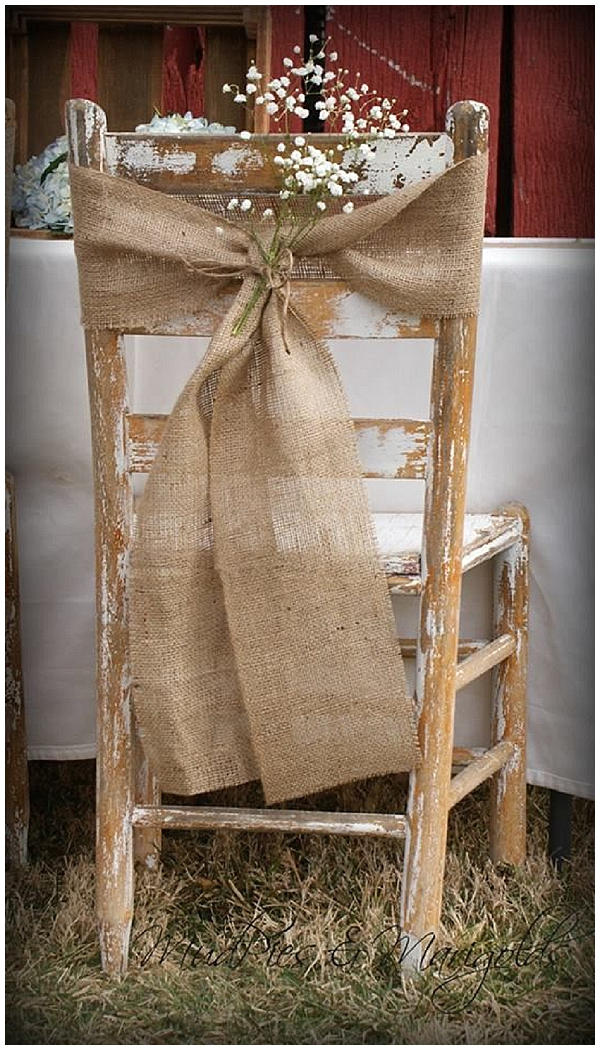 hessian wedding ideas hessian chair backs