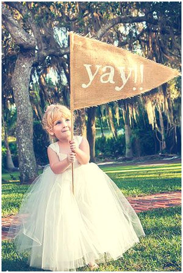 hessian wedding ideas large hessian flag for flowergirls