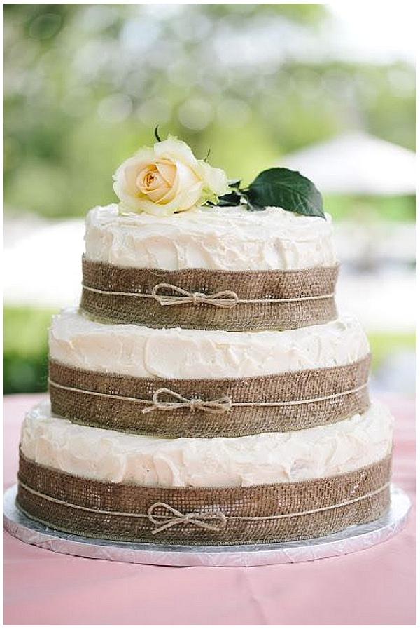 40 hessian wedding ideas image source hessian wedding ideas wedding cake with burlap ribbon around layers junglespirit Choice Image