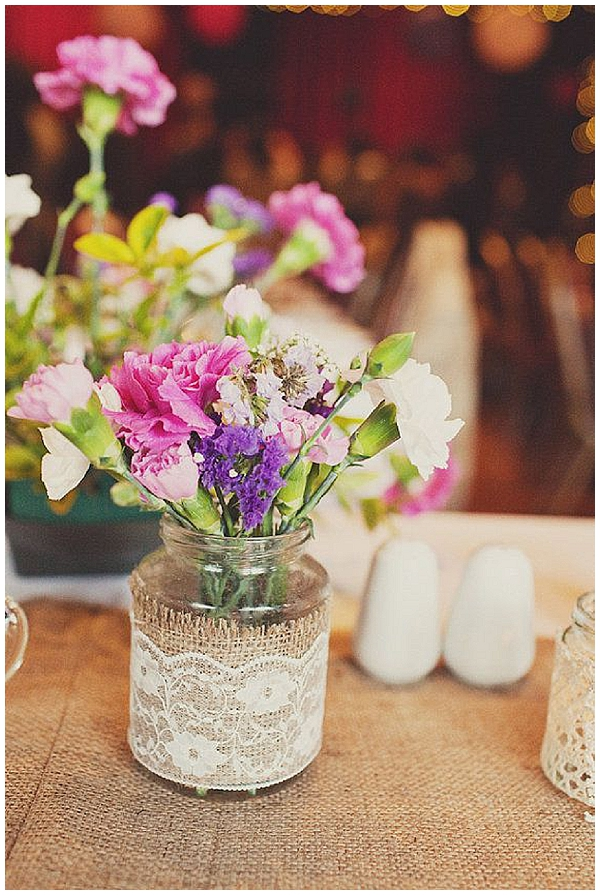 hessian wedding ideas wrap hessian and lace around ja jars for wedding centrpieces with flowers
