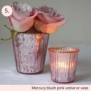 mercury blush pink vase or votive wedding table decoration - 15 wedding centrepieces for under 15 pounds (budget friendly centrepieces)