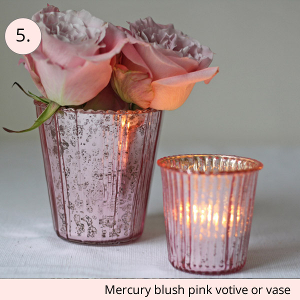 mercury blush pink vase or votive wedding table decoration - 15 wedding centrepieces for under 15 pounds (budget friendly centrepieces)