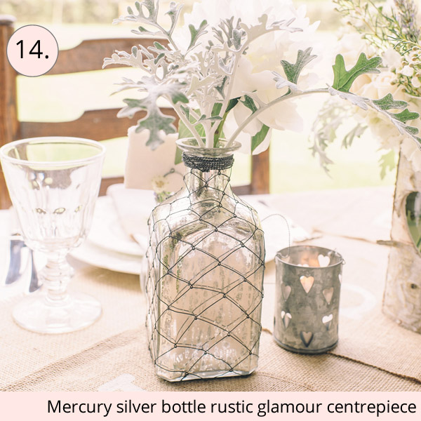 mercury silver bottles rustic glamour wedding centrepiece ideas - 15 wedding centrepieces for under 15 pounds (budget friendly centrepieces)