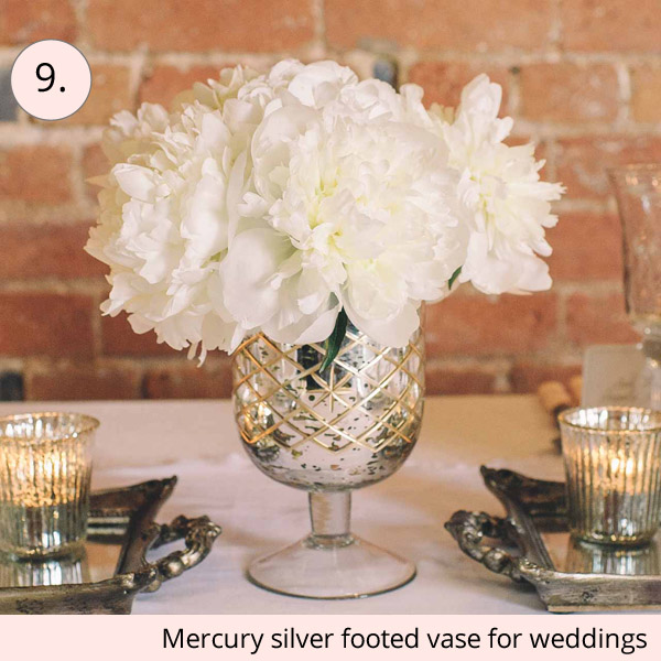 mercury silver footed vase for elegant weddings centrepieces - 15 wedding centrepieces for under 15 pounds (budget friendly centrepieces)