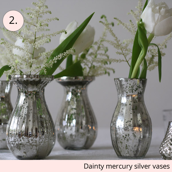 mercury silver vases wedding centrepieces for sale - 15 wedding centrepieces for under 15 pounds (budget friendly centrepieces)