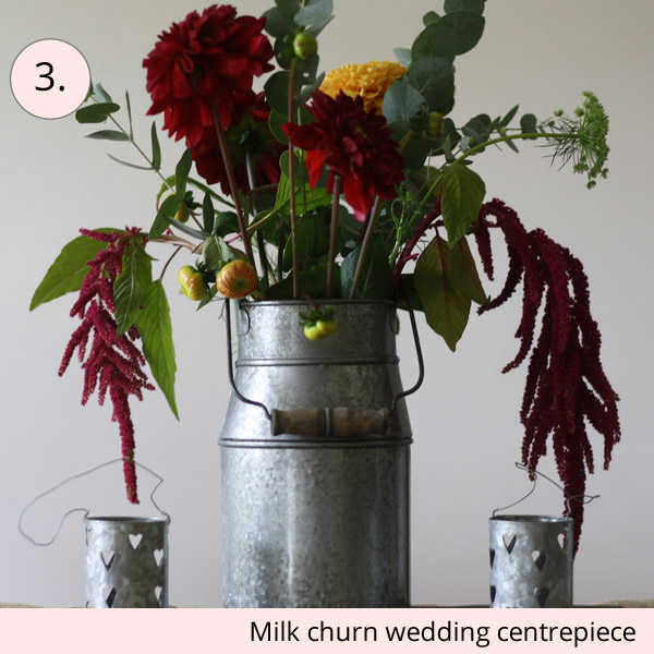 milk churn rustic wedding centrepiece for sale - 15 wedding centrepieces for under 15 pounds (budget friendly centrepieces)