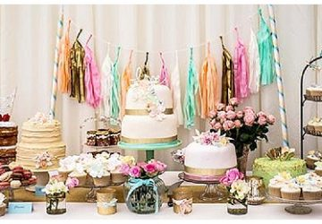 pastel luxe wedding cake table or dessert table The Wedding of my Dreams real wedding