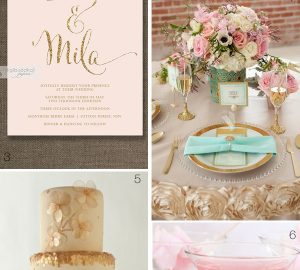 pink and gold wedding inspiration decorations