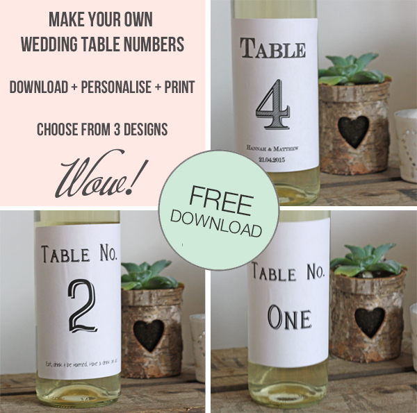 print my own wedding table numbers cards wine bottle stickers for ...