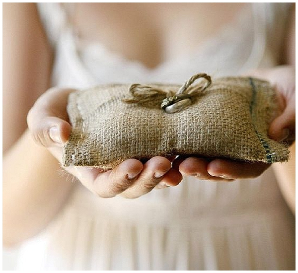 rustic hessian ring cushion hessian wedding ideas