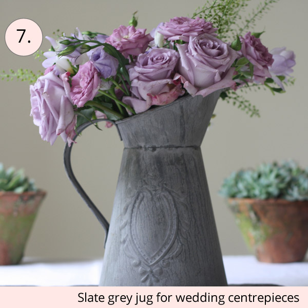 slate grey jugs for rustic wedding centrepieces for sale - 15 wedding centrepieces for under 15 pounds (budget friendly centrepieces)