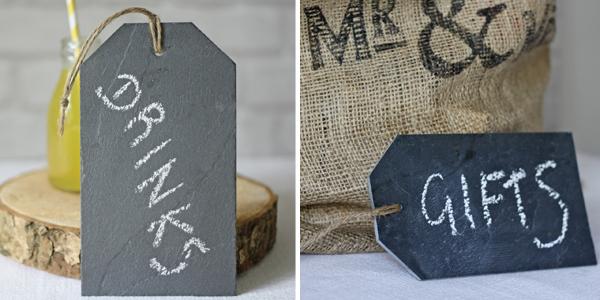 slate wedding sign luggage tags
