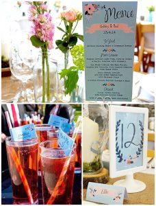 swoon at the moon wedding stationery flags for straws table number menus