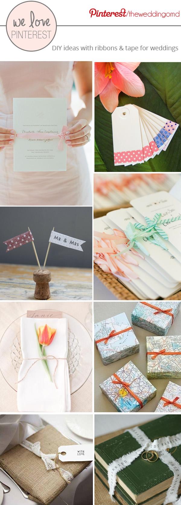 DIY ribbon wedding ideas - wedding invitations, napkins gift wrapping