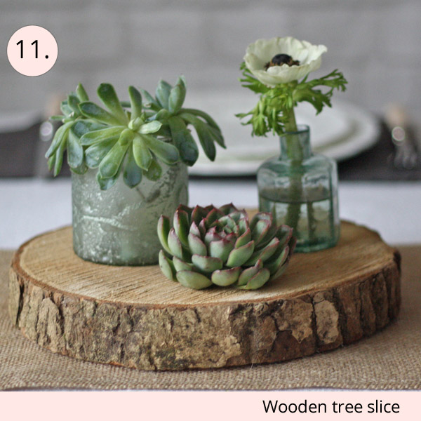 wooden tree stump tree slice wedding centrepieces for sale - 15 wedding centrepieces for under 15 pounds (budget friendly centrepieces)