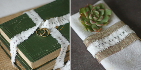 just married wedding ribbon ideas around napkin vintage books ring pillow rustic ribbon frayed edges