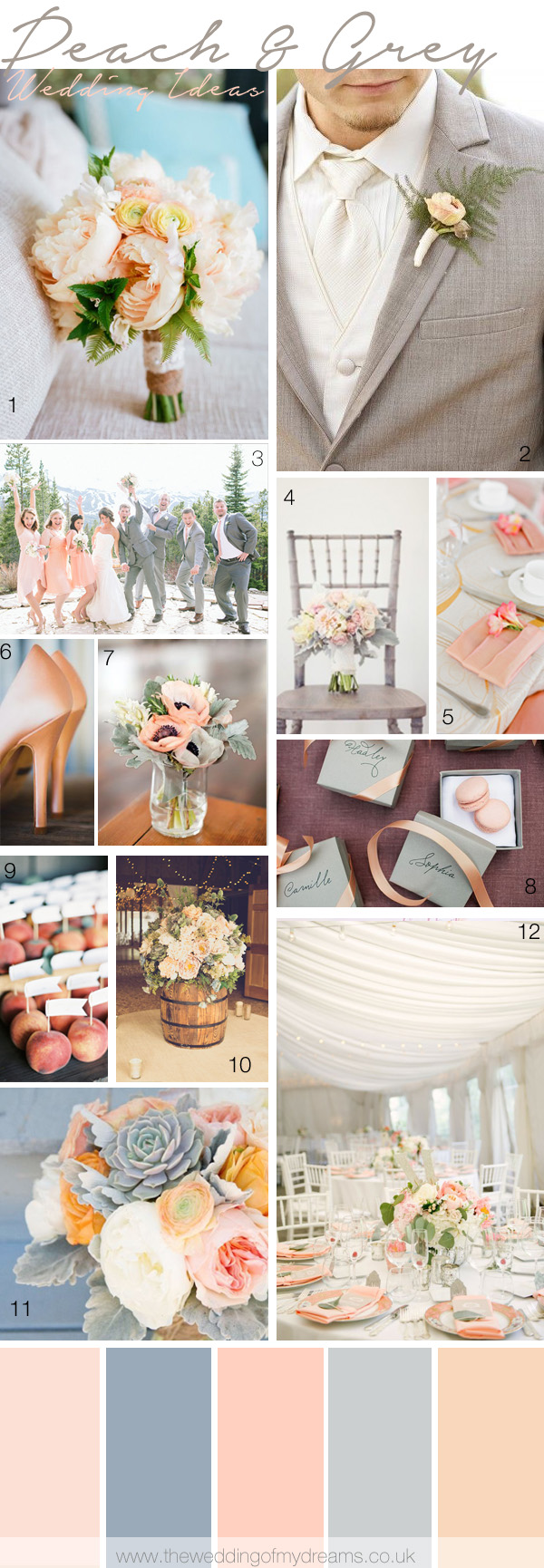 peach grey wedding inspiration decorations