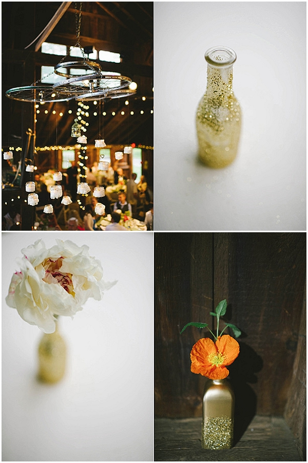 rustic glamour wedding gold glitter decorations