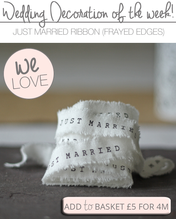 weding ribbon just married ribbon rustic frayed edges
